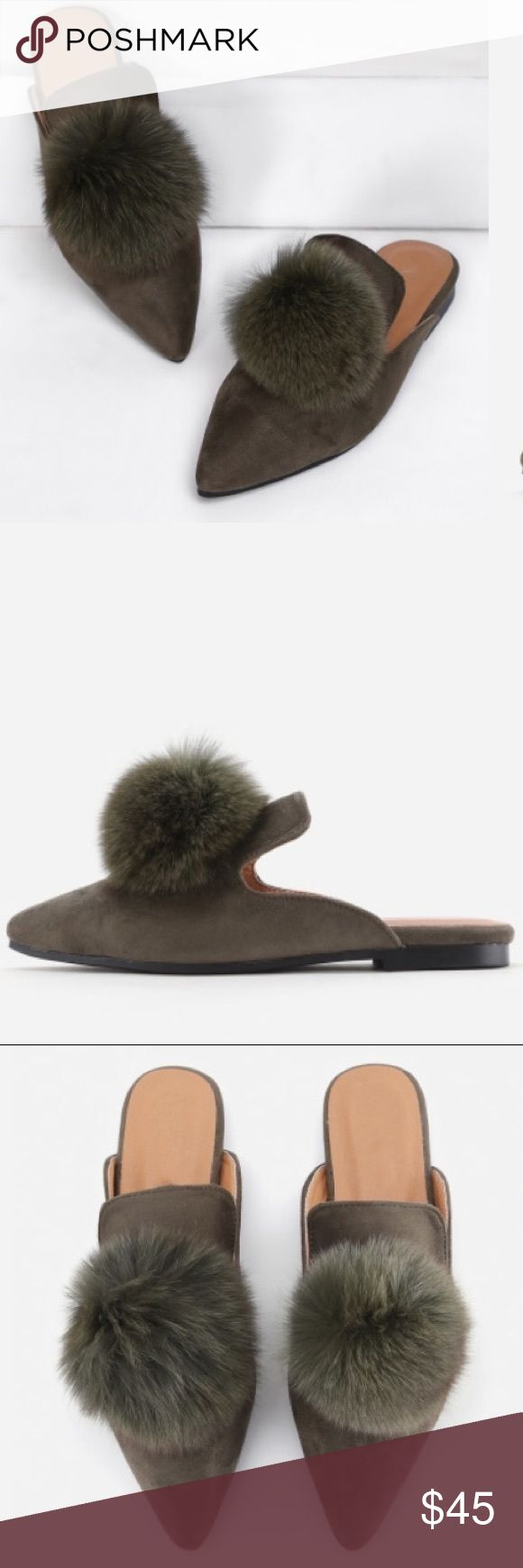 NWT Pom Pom smoking flat Beat everyone to the punch!!  These Fall ready smoking flats are comfy and stylish!  Perfect olive color!  Last photo for styling inspo!  Size 37 but fits a size 6!  NOT Zara but got from online boutique! Zara Shoes Flats & Loafers