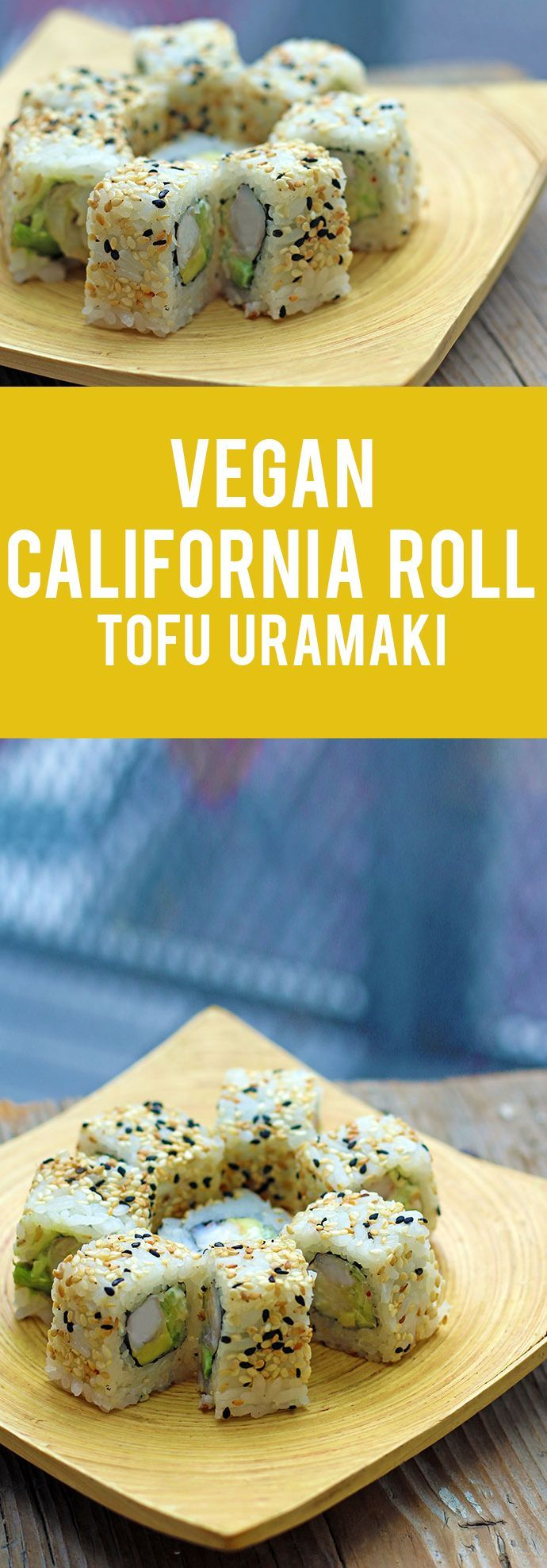 Learn how to make vegan California roll or tofu uramaki quickly and easily, by following this step by step recipe! It tastes very similar to the original crab meat California roll recipe! #california #sushi #tofu