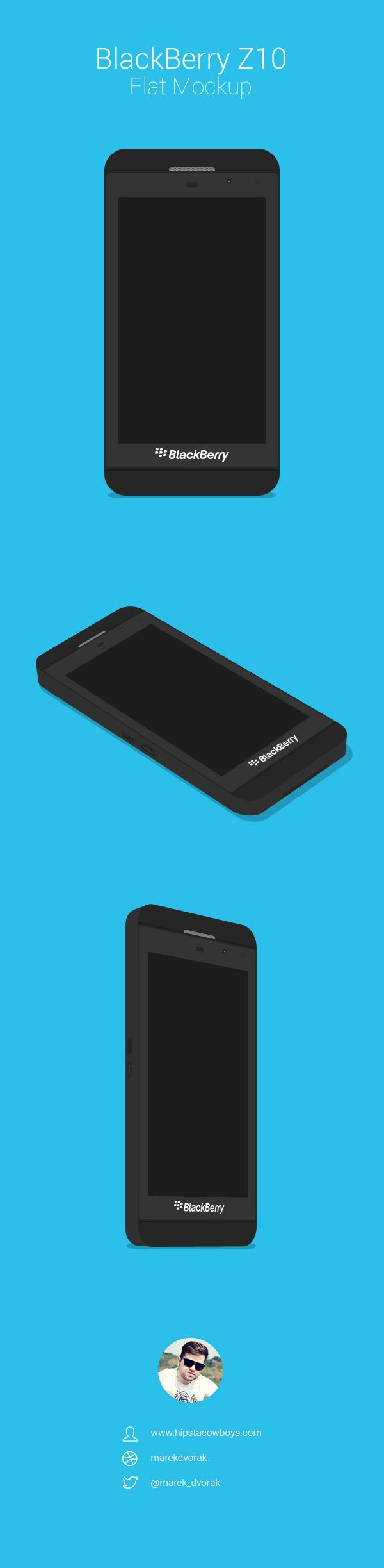 Marek Dvorák from HipstaCowboys.com has created this flat BlackBerry Z10 PSD mock-up that comes in 3 viewing angles. You can easily edit the scre...