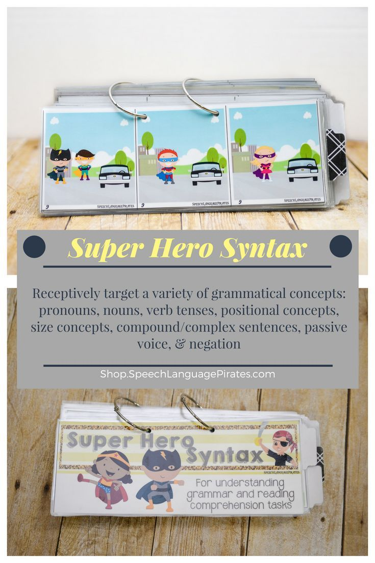 receptively target grammatical concepts using a flip book with a super hero theme