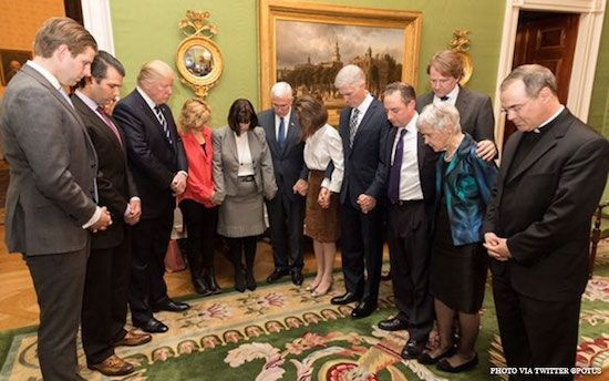 Following the announcement of his Supreme Court Nominee, President Trump, Vice President Pence, the wife of former Supreme Court Justice Scalia, the nominee and his wife along with others prayed.  Come on church…begin praying in earnest for our President.  Our country is in a serious war to eit...