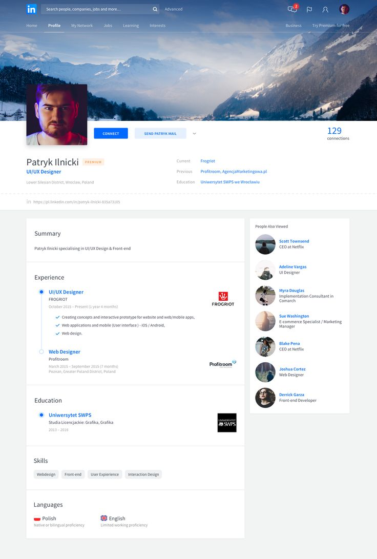 Linkedin Redesign on Behance Inspiração, Ideias