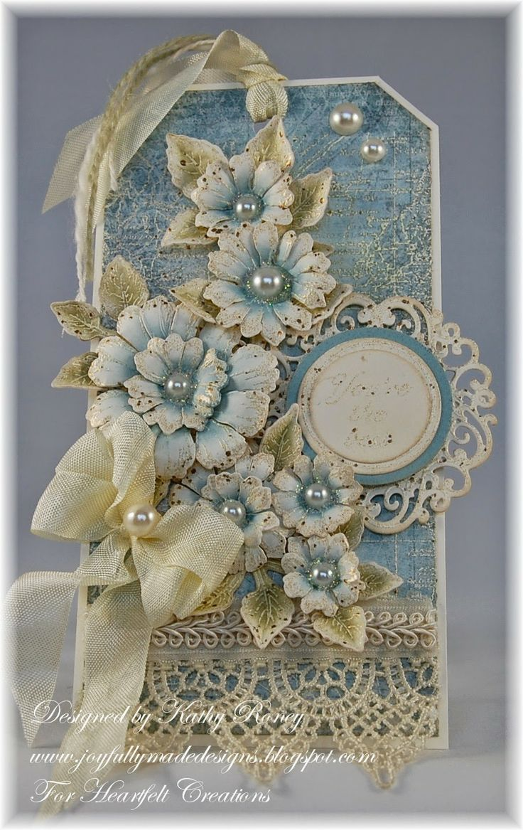 Vintage Floral Tag – using Heartfelt Creations' stamps, designer papers and …