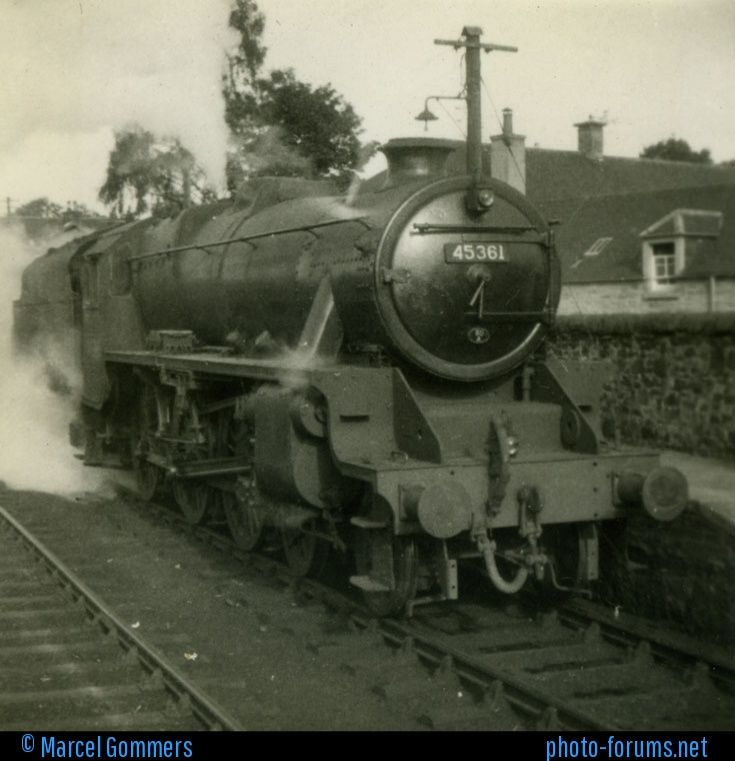 Steam loc 45361 in c1950. In 1954 this was shedded at 60A, Inverness that included sub sheds at Dingwall and Kyle of Lochalsh. Info thanks to John Southall.