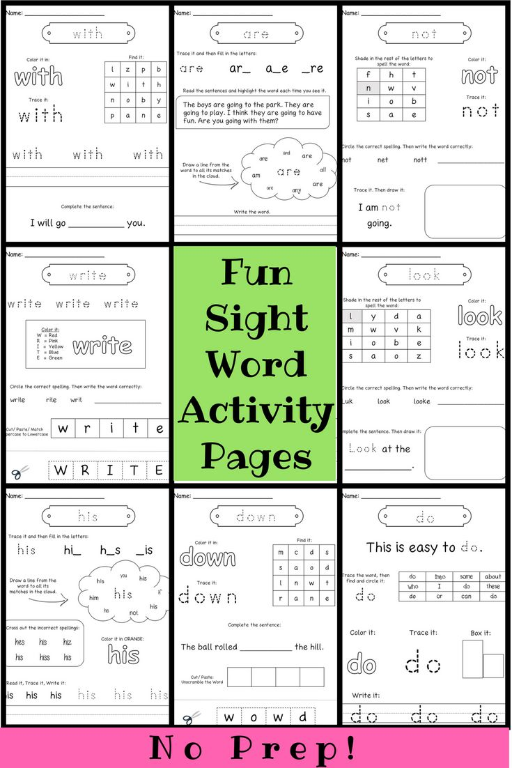 This Sight Word Practice Pages file includes over 20 different activities for the first 100 fry words (many Dolch words included). No prep necessary, so keep these on hand for sub plans, homework, sight word review, early finishers, Do-Nows, or independent work.