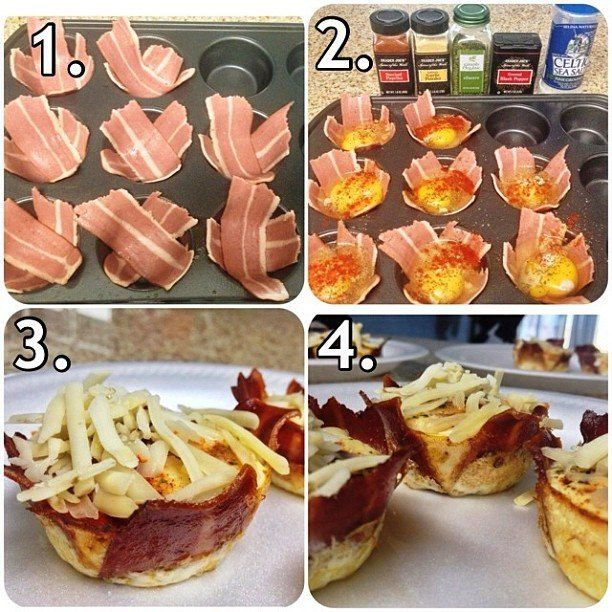 Bacon Egg Breakfast Cups - 4 eggs 4 slices turkey bacon pam spray Directions: Preheat oven to 400F. Spray muffin tin with pam spray.  Halve the bacon in a cross placed in the mold (see picture) Add egg, sprinkle paprika, or whatever you like Break an egg into the center of each mold. Bake for about 8 minutes or until egg is cooked to the doneness of your liking. Serve while warm.