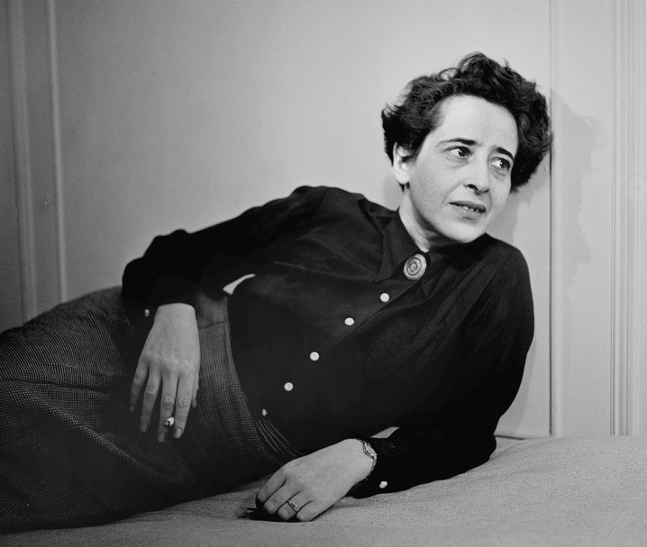 """Hannah Arendt, German-American political theorist. In her reporting of the Adolf Eichmann trial for The New Yorker, which became """"Eichmann in Jerusalem"""" (1963), she coined the phrase """"the banality of evil"""" to describe her thesis that the great evils in history generally, and the Holocaust in particular, were not done by fanatics or sociopaths, but by ordinary people who accepted the premises of their state and thus participated with the view that their actions were normal. Photo/Fred Stein."""