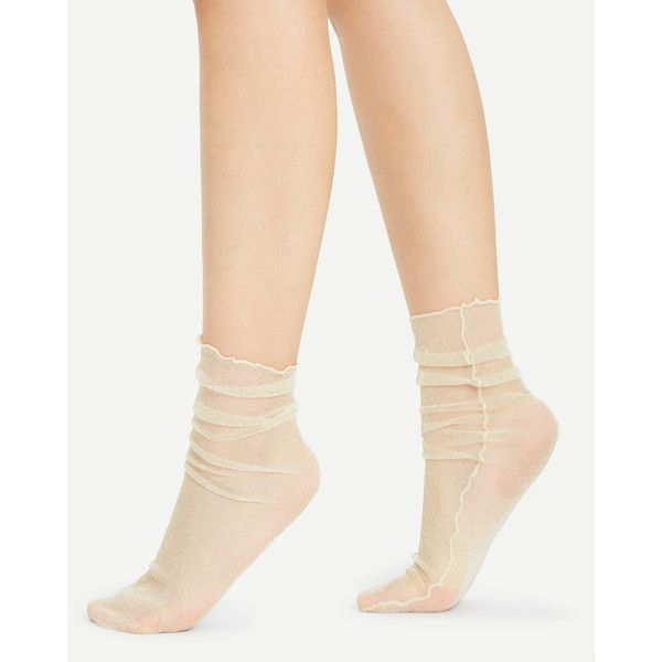 SheIn(sheinside) Glitter Side Seam Ankle Socks (5,635 KRW) ❤ liked on Polyvore featuring intimates, hosiery, socks, nude, tennis socks, ankle socks, short socks, glitter hosiery and glitter socks