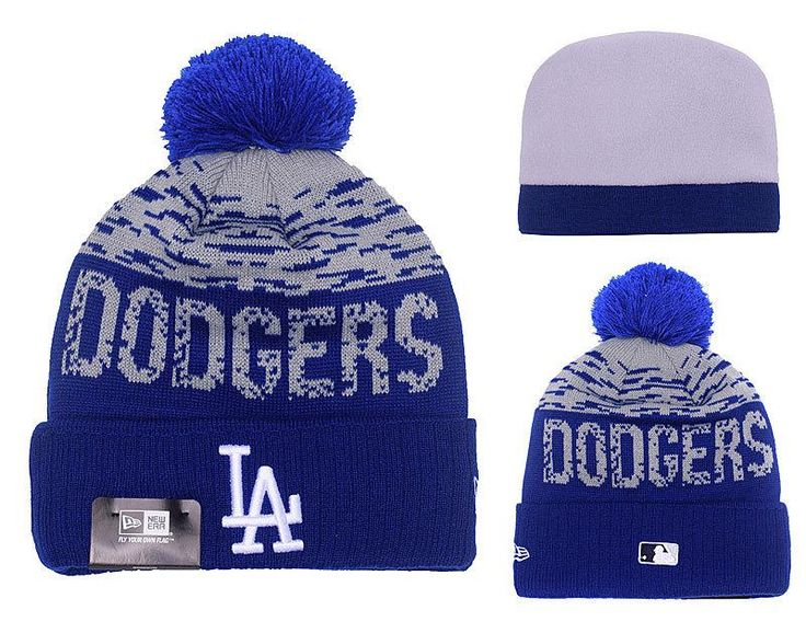 Men's / Women's Los Angeles Dodgers New Era MLB On-Field Sports Knit Pom Pom Beanie Hat - Grey / Blue