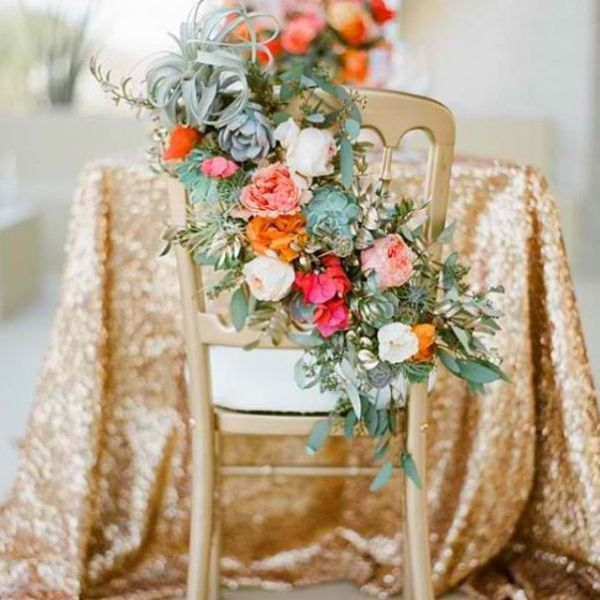 glittery linens and I love the back of the chair