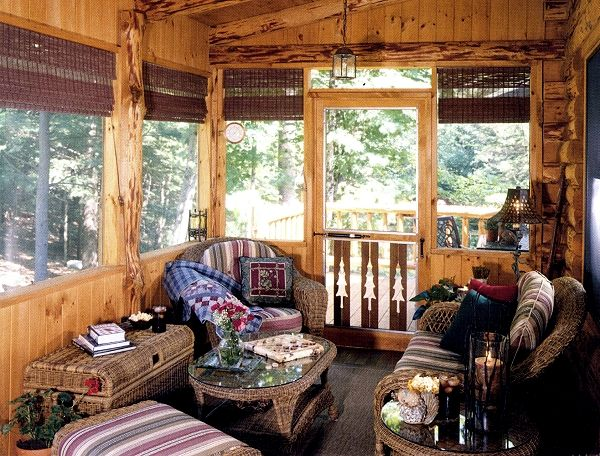 Log home interiors return to interiors main page next for Log cabin screened in porch