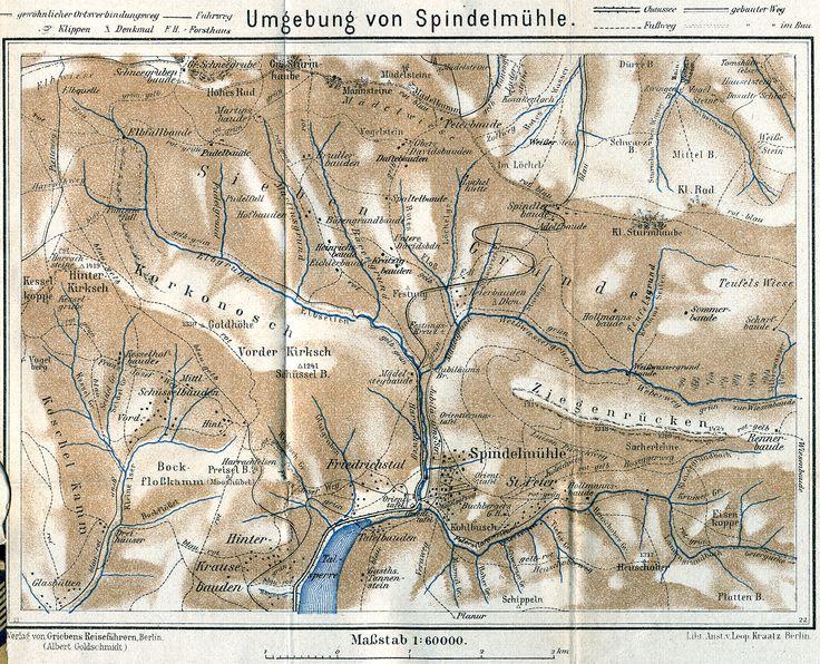 Alte Landkarte von Schlesien. Augenmerk liegt hier auf der HollmannsBaude in Spindelmühle.  Spindelmühle auf tschechisch Špindleruv Mlýn, liegt in Tschechien im Riesengebirge.  Den Ort finden Sie im Bezirk Trautenau / Trutnov in unmittelbarer Nähe und oberhalb von Hohenelbe / Vrchlabi im Riesengebirge auf der Böhmischen Seite. Dieses Gebiet ist ehemals deutschsprachig gewesen.