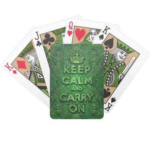 Green grass keep calm and carry on bicycle card decks