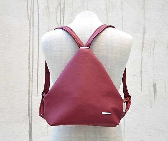 Backpacks – Burgundy Leatherette Backpack. – a unique product by Loutik on DaWanda
