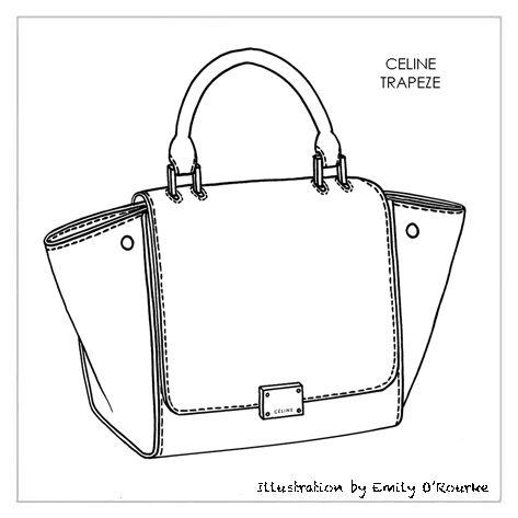 CELINE - TRAPEZE BAG - Designer Handbag Illustration / Sketch / Drawing / CAD / Borsa Disegno Handmade Handbags & Accessories - http://amzn.to/2ij5DXx