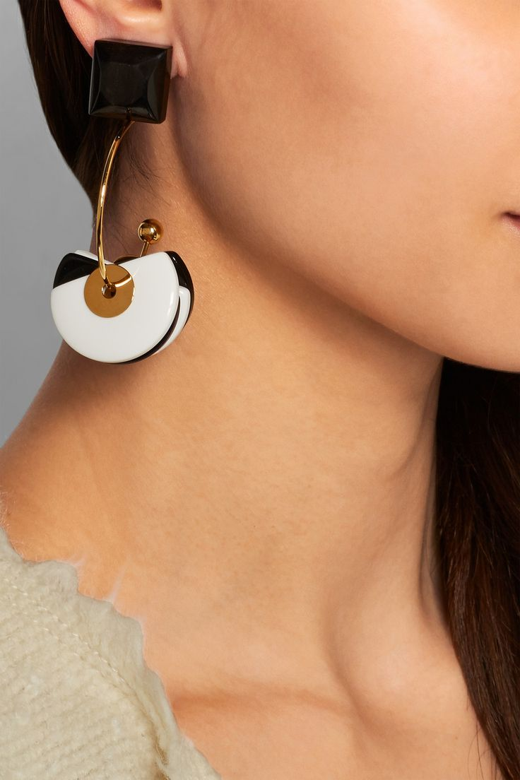 Marni|Gold-plated, horn and resin clip earrings|NET-A-PORTER.COM