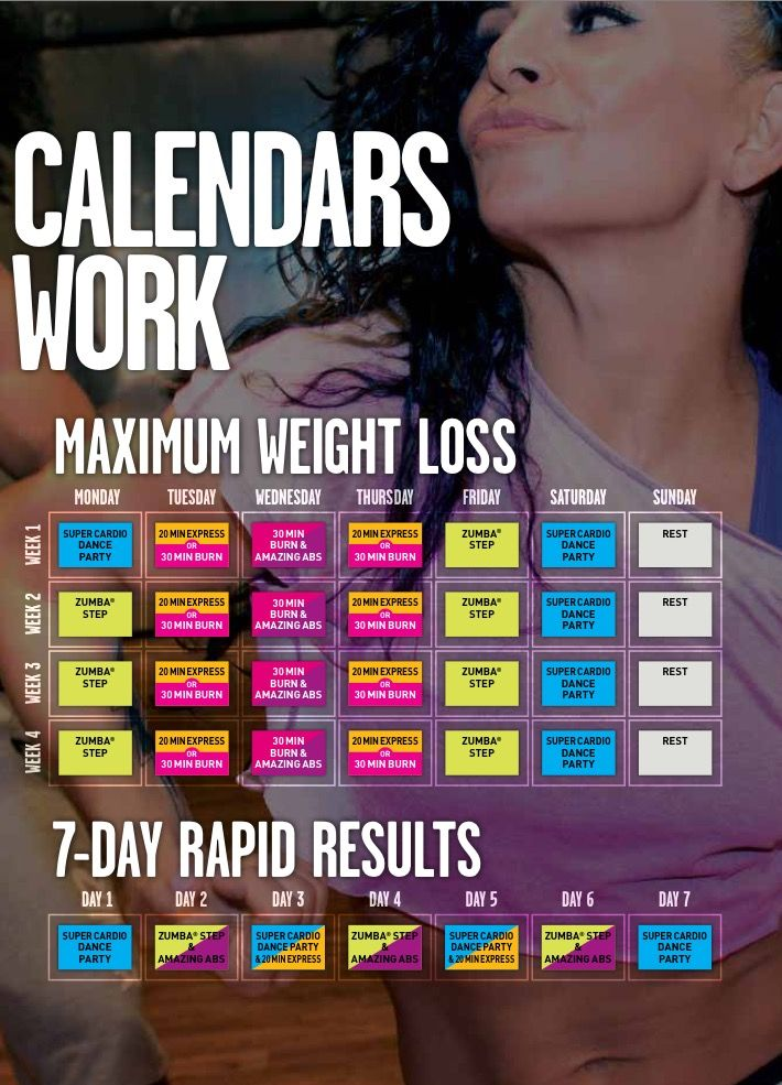 Zumba Incredible Slimdown Workout Calendar 2