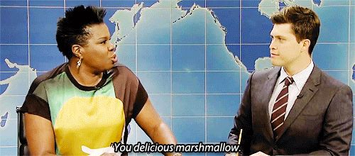 Right now my favorite part of Saturday Night Live is when Leslie Jones hits on Colin Jost. | Weekend Update | You delicious marshmallow