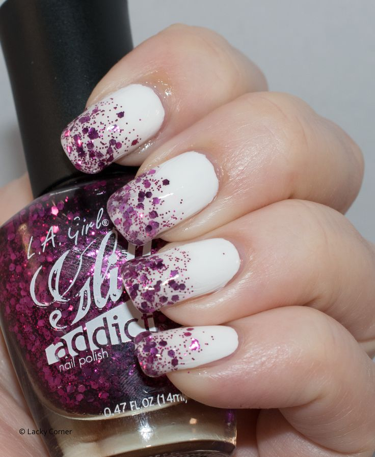 L.A Girl Glitter Addict Provocative over White creme.