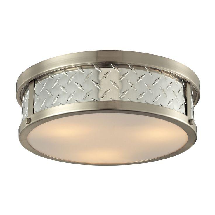 Diamond Plate 3 Light Flushmount In Brushed Nickel