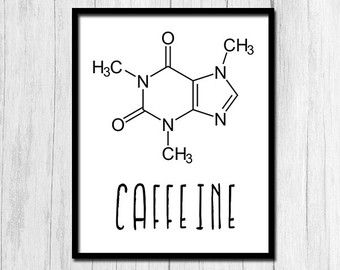 Koffein Molekül Kaffee Print Kaffee Drucke von printabold auf Etsy