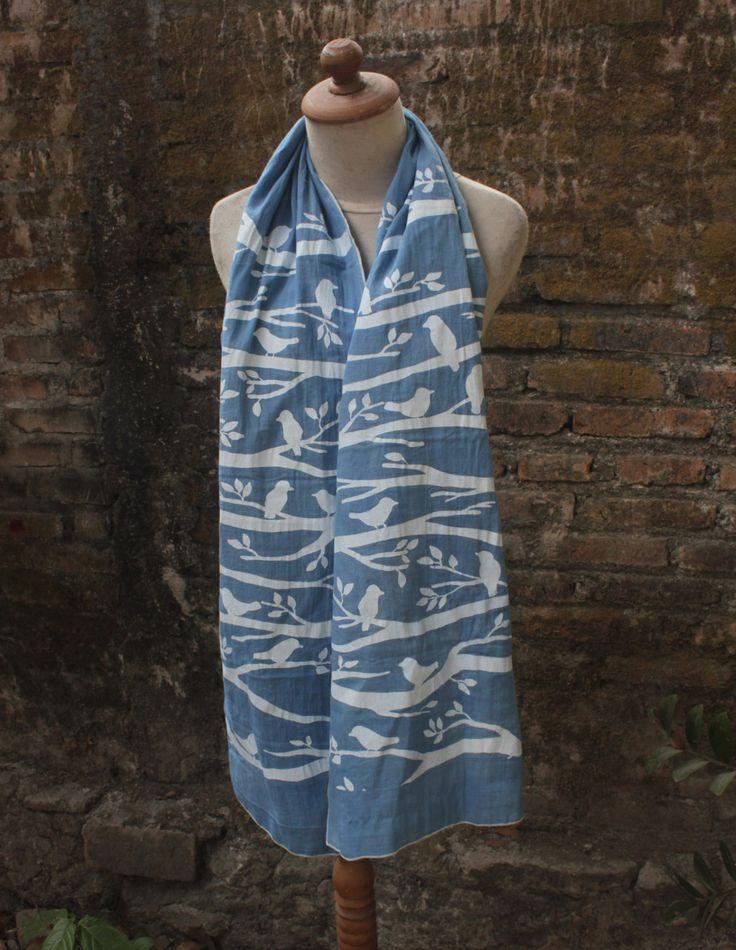 Blue Bird Twig Scarves by Tamimi on Etsy