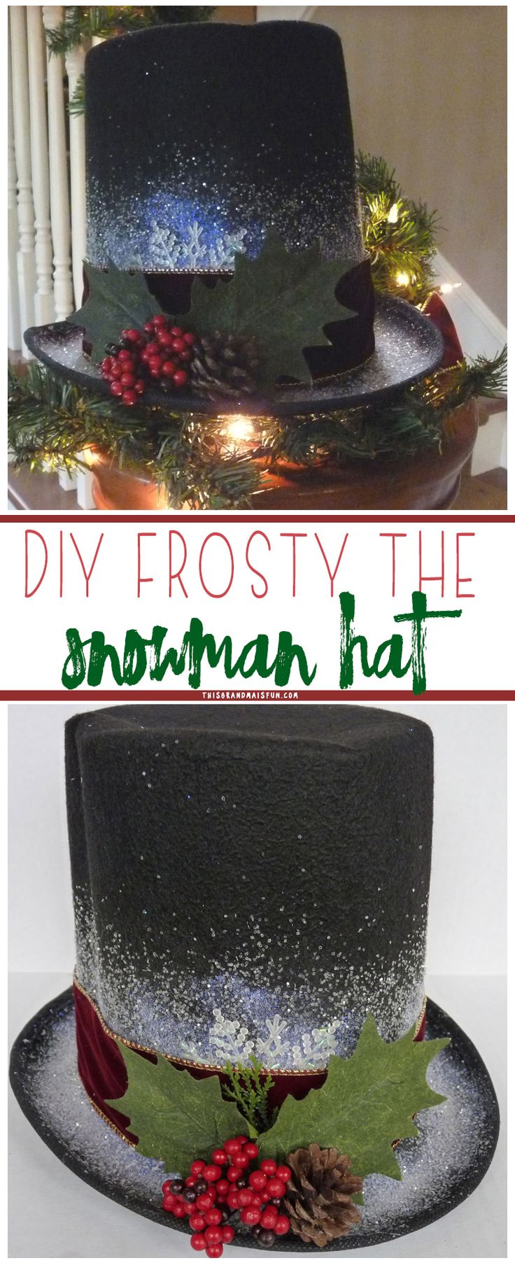 Quick and easy Frosty the Snowman Hat. All you need is a few craft supplies and 30 minutes to create a Frosty hat of your own!