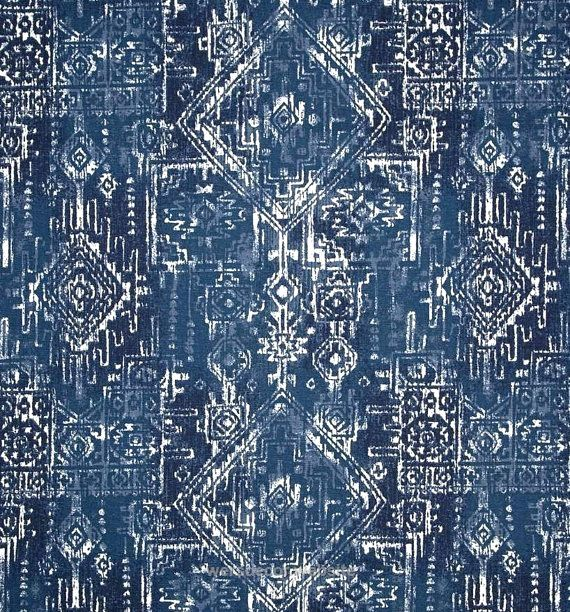 Tribal Indigo Navy Blue Indoor Outdoor Aztec Fabric By The Yard Designer Contemporary Outdoor Fabric Navy Blue Home Decorhome