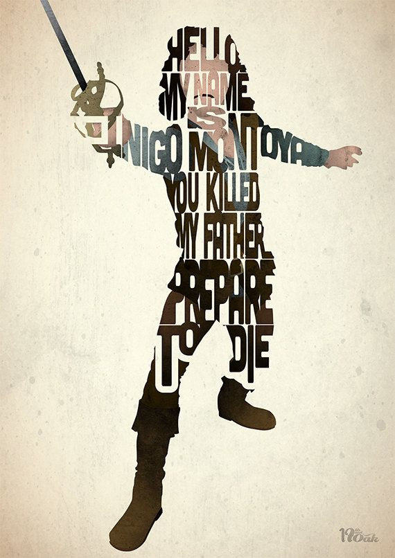 Prepare to Die A film typography quote - THe Princess Bride - by 17thandOak