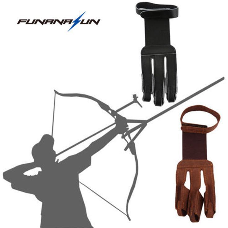 3 Finger Tip Protector Archery Protect Glove Pull Bow Leather Hunting Fingers Guard  for Recurve Longbow Shooting Training Game