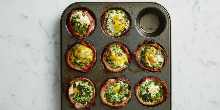 "Filled with lots of greens, these gluten-free ""bacon egg cupcakes"" are perfect for breakfast or an energy-boosting snack on the go."