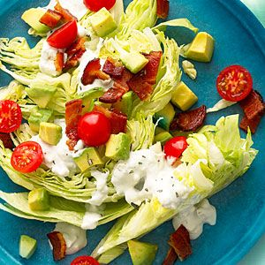 Rosemary Bacon, Lettuce, and Tomato Salad: Blue Cheese, Wedges Salad, Fresh Tomatoes Recipes, Side Dishes, Tomatoes Salad Recipes, Rosemary Bacon, Bbq Side, Lettuce Salads, Tomato Salad Recipes