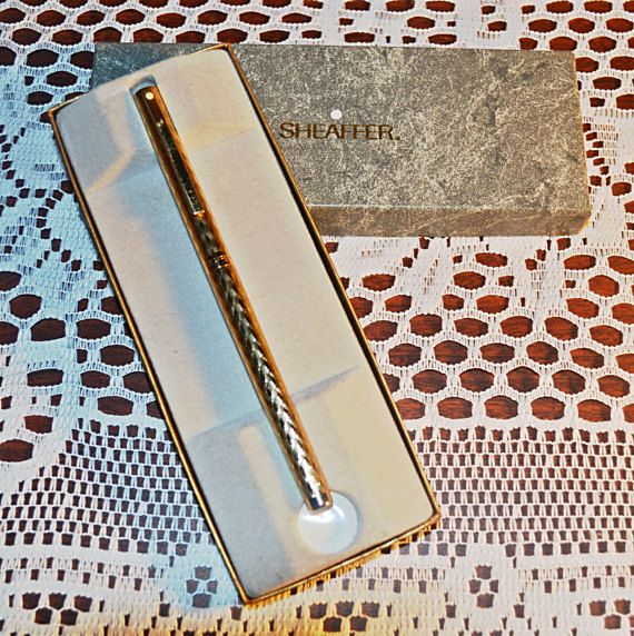 Check out this item in my Etsy shop https://www.etsy.com/ca/listing/509886449/gold-plated-sheaffer-pen-white-dot