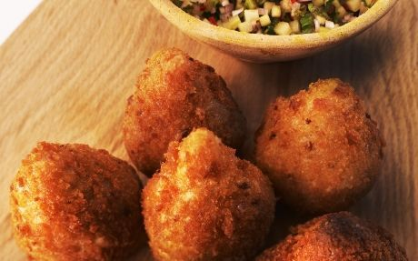 Andy's Coxinhas Recipe by Andy Bates, choux pastry filled with spicy chicken, crumbed and deep fried...