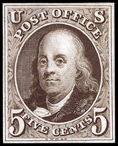1847 5¢ US Postage Stamp Die Proof