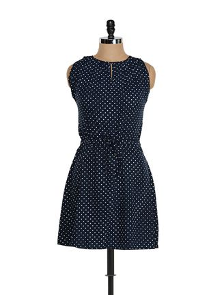 Buy Being Fab Navy blue polka dotted dress Online, , LimeRoad
