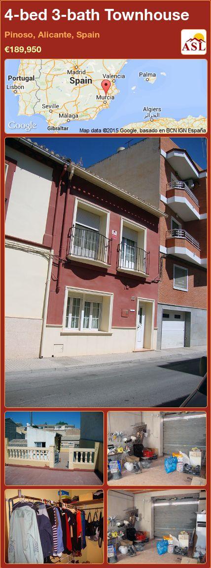 4-bed 3-bath Townhouse in Pinoso, Alicante, Spain ►€189,950 #PropertyForSaleInSpain