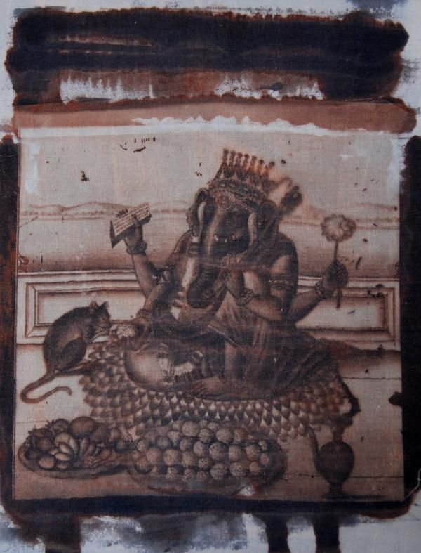 deeper richer color of Lord Ganesha the destroyer of obstacles - I love him and used an historical work 100s of years old to create this print so people can have altar pieces, purses, tshirts, pillows with Ganesha - I love the son of Shiva and Parvati http://yoyoro.net #yoyoro #retail #wholesale #artprints