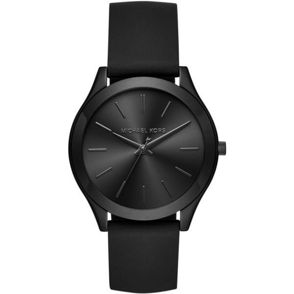 Michael Kors Women's Slim Runway Black Silicone Strap Watch 42mm... ($195) ❤ liked on Polyvore featuring jewelry, watches, black, black wrist watch, michael kors jewelry, kohl jewelry, slim watches and black jewelry