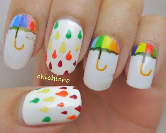 Rainbow Umbrella Nails