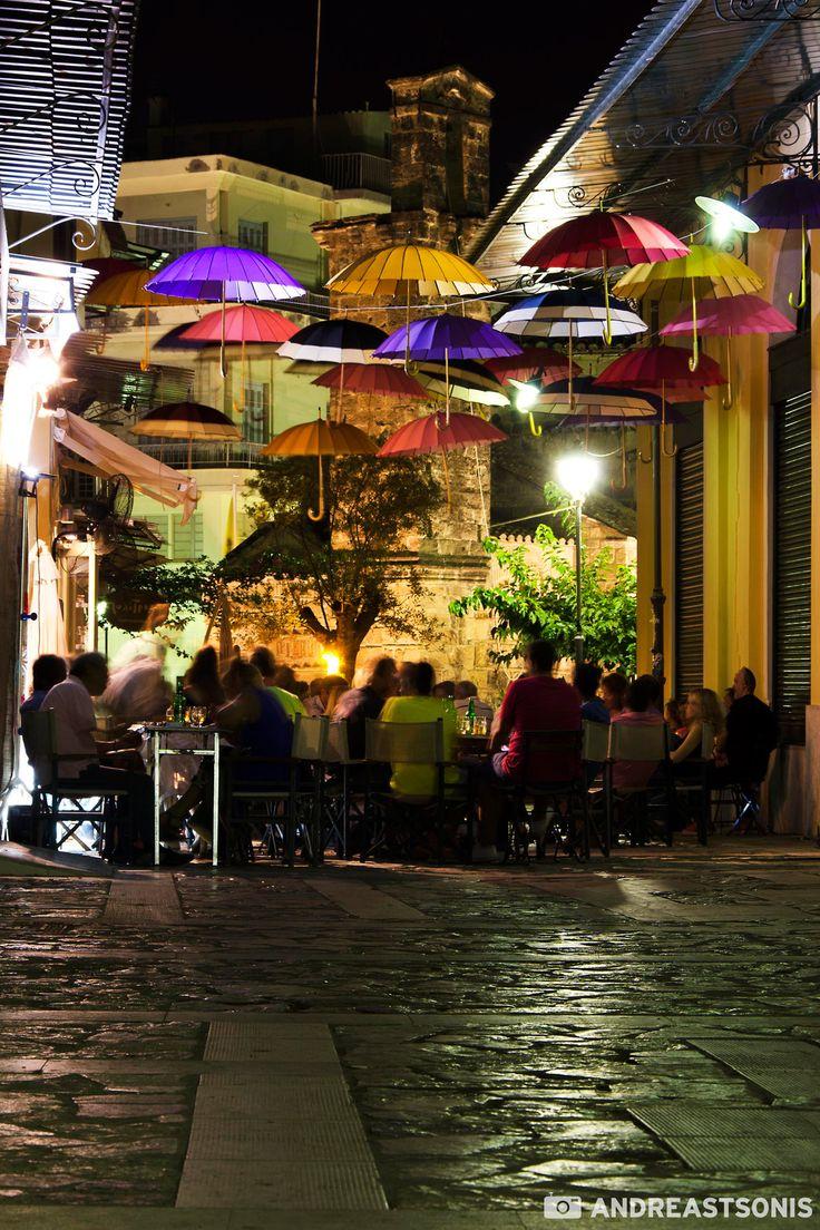 Umbrellas & Coffee in the square, Kalamata, Greece