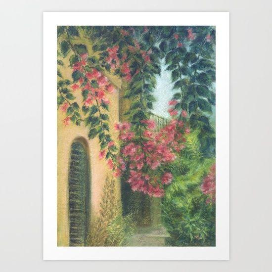 Picturesque patio_Pastel painting Art Print