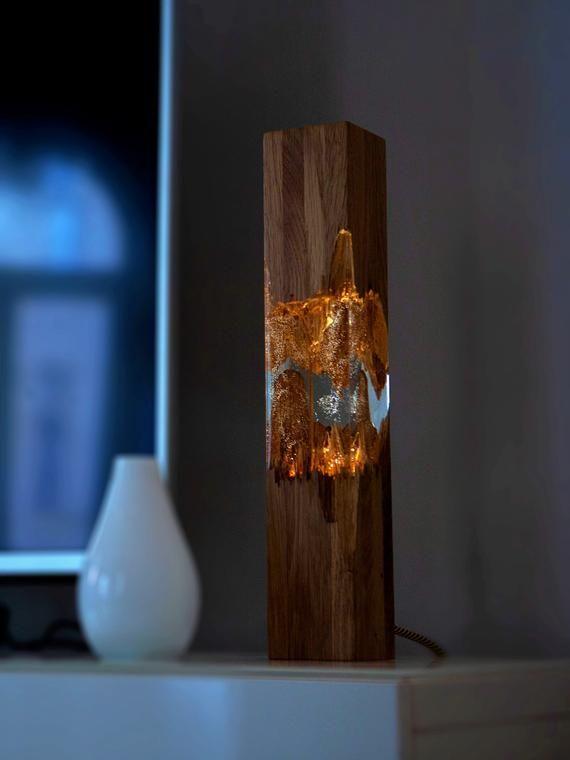 Epoxy wood lamp, lamp, night lamp, resin table decor, decor