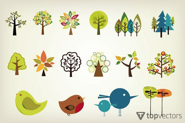 13 Cute Vector Trees Pack