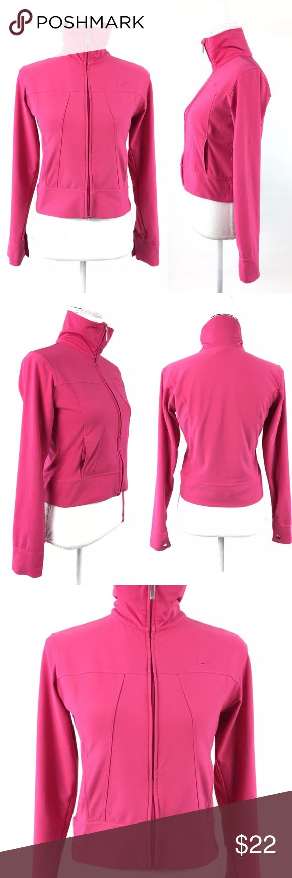 "Nike Women Crop Zip Up Jacket Pink Size Small 4-6 Nike Dri Fit Ladies Stretchy zip up slightly cropped jacket in size small. Pockets, bright pink color!  This jacket is in good pre-owned condition however with minor flaw:  - missing and loose stitches by the cuff. Please see photo.  Flat Measurements Approximate:  Across Chest: 17"" Shoulder to hem: 18.5"" Sleeves: 23.75""  AA271E Nike Jackets & Coats"