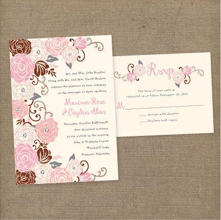 Vintage Floral Rose Wedding Invitation - DIY PRINTABLE TEMPLATE