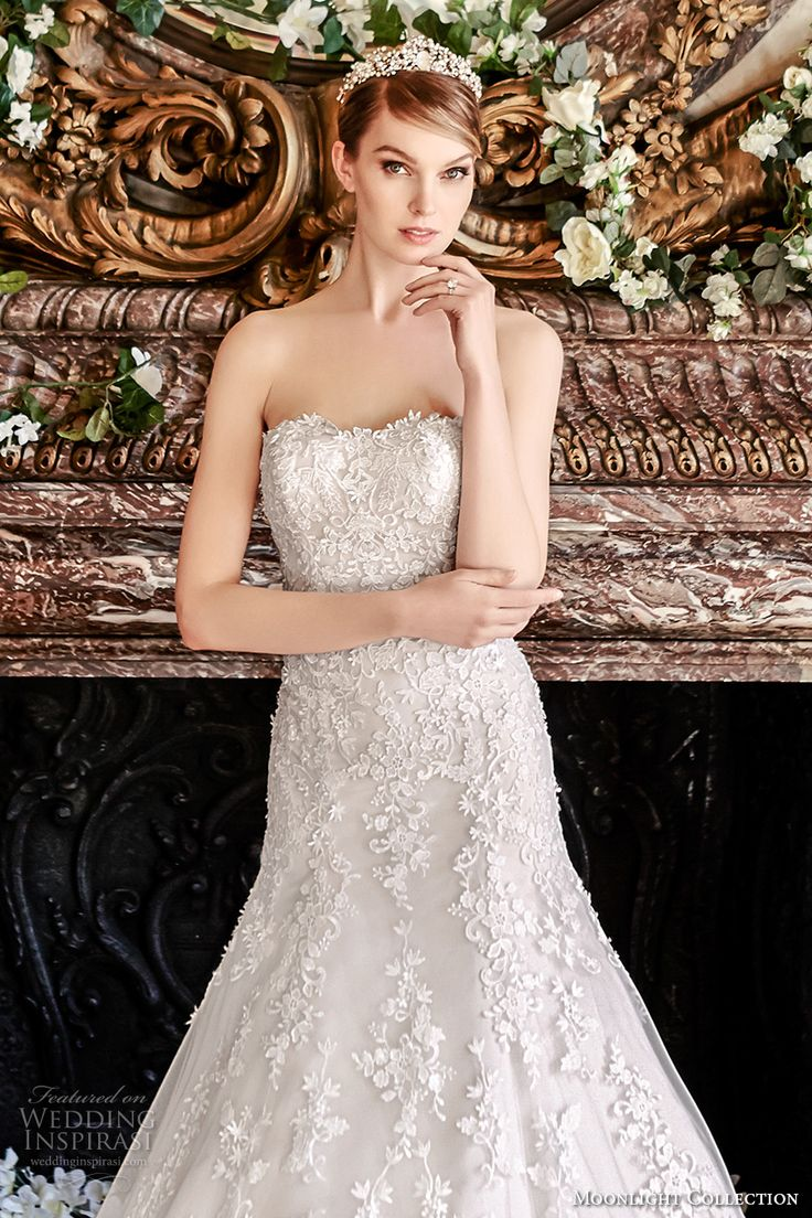 moonlight collection fall 2016 bridal strapless semi sweetheart neckline full embellishment bodice romantic fit and flare wedding dress low back cathedral train (j6440)