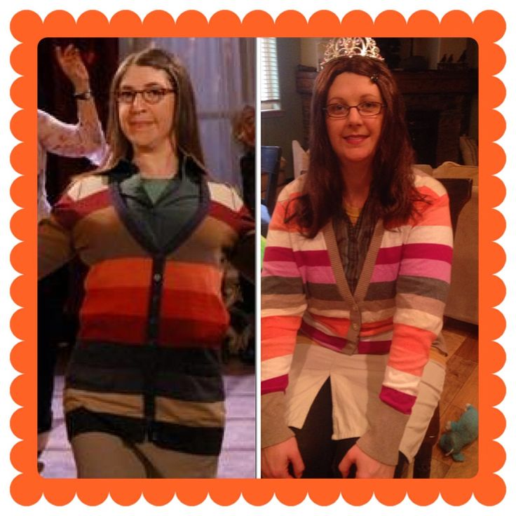Recreate power couple Sheldon & Amy for easy couples halloween costume. Check out this Amy Farrah Fowler Costume found from thrift shop pieces!