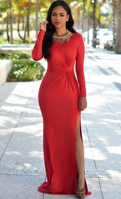 Red Knotted Front Long Sleeves Gown.