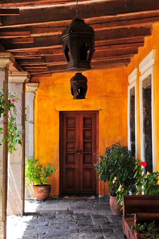 Porch lights mexico mexican color schemes pinterest for Hacienda style lighting